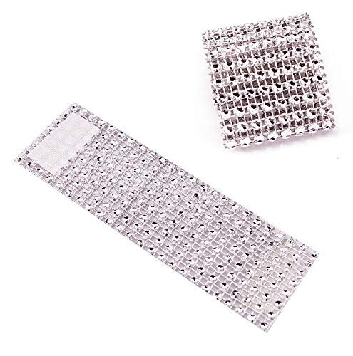 TIAMALL 100 PCS Rhinestone Napkin Rings Napkin Holder Adornment for Wedding Party (Silver) ()