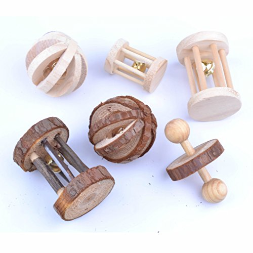 pranovo 6 Pack Hamster Wooden Chewing Toys Pets Teeth Care Molar Ball Exercise Playing Bell Roller Toy for Cat Rabbits Rat Guinea Pig Small (Rodent Cat Toy)