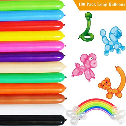 GuassLee Long Balloons for Balloon Animals Twisting Balloons - 100pcs Balloon Animal Kit 260q Balloons Magic Balloons for Birthday Party Decorations