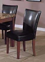 Set of 2 Soho Collection Black Leatherette Parsons Dining Chair/Chairs