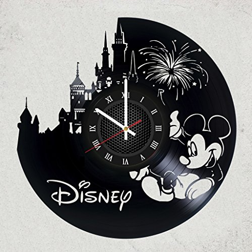 WALT DISNEY Mickey Mouse vinyl clock, vinyl wall clock, vinyl record clock, walt disney clock maleficent the evil queen jafar captain hook scar gaston wall art home decor kids gift