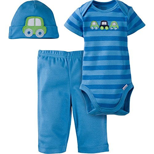 - Gerber Baby-Boys Newborn 3 Piece Bodysuit Cap and Pant Set, Car, 3-6 Months
