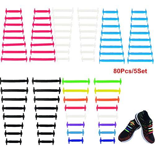 Agujetas plásticas para zapatos, sin amarras, elásticos de silicona, 5 juegos , Black+White+Red+Blue+Rainbow, Adults