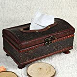 Chunshop Retro Wooden Rectangular Paper Cover Case Tissue Box Napkin Holder Home Decor