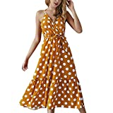 Women Strap Wrap Tie Dress - Ladies Elegant Polka Dot V Neck Ruffle Hem Dresses - Loose Beach Party Clothes (S, Yellow)