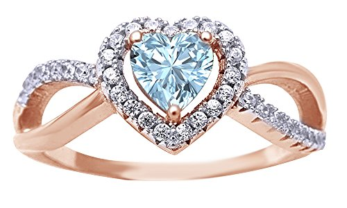 Jewel Zone US Simulated Aquamarine & White Cubic Zirconia Infinity Heart Twisted Ring in 14k Rose Gold Over Sterling Silver