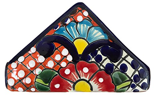 Casa Fiesta Designs Talavera Pottery Napkin Holder - Authentic Hand Painted Mexican Pottery - Multicolor by Casa Fiesta Designs
