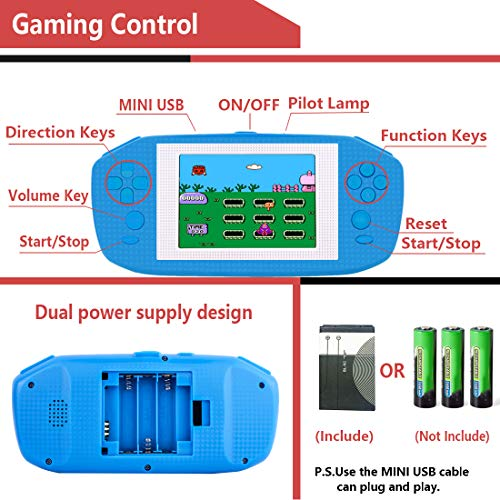 Beico Handheld Games for Kids Adults 3.5'' Large Screen Built in 416 Classic Retro Video Games Seniors Electronic Games Consoles Birthday Present (Blue) by Beico (Image #3)