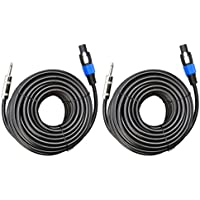 Ignite Pro 2x Speakon to 1/4 50 Ft. True 12 Gauge Wire AWG DJ/ Pro Audio Speaker Cable, Pair