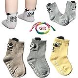 Yshare® 6pairs 6-24 month Baby Toddler Cartoon Skid Anti Slip Socks + Gift Bangle