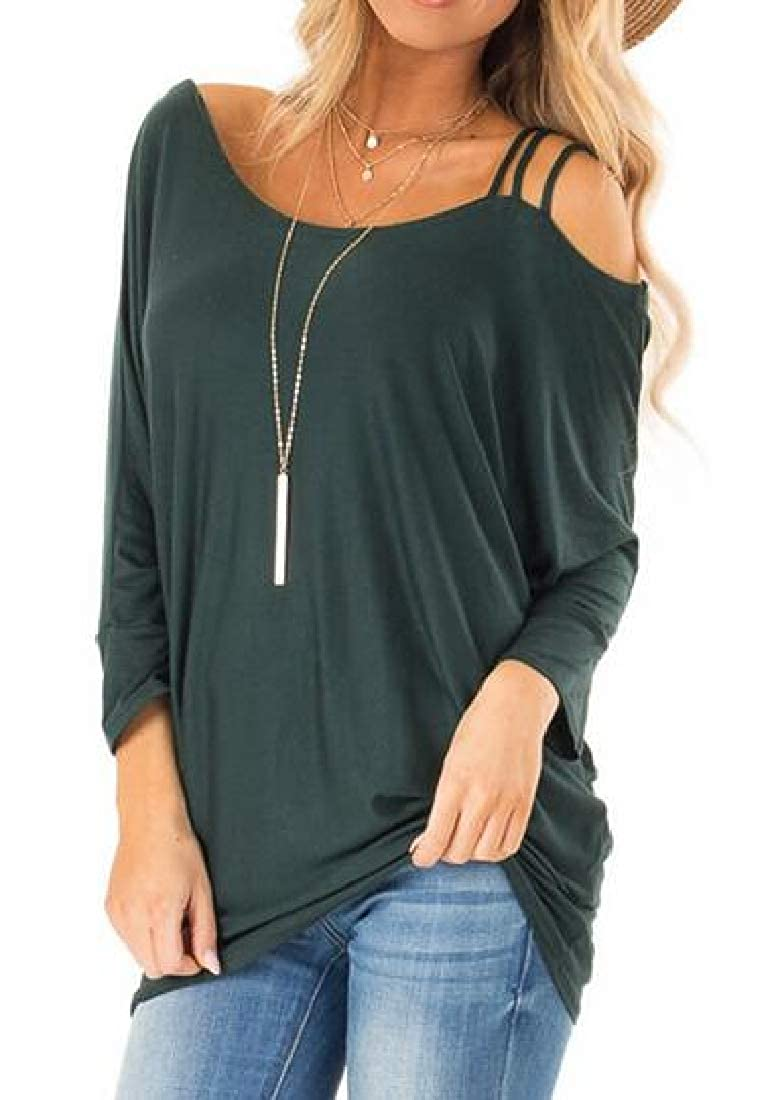 Zantt Womens Blouse T-Shirt Long Sleeve Loose Solid Cold Shoulder Fall Tops