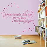 Twinkle Twinkle Little Star 2 - Nursery Wall Quote Decal Sticker (Color: Metallic Gold Size: Medium)