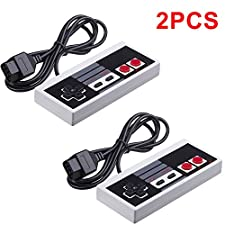 CC&SS 2-Pack Classic NES Controllers for Nintendo NES 8 Bit Entertainment System Console Control Pad