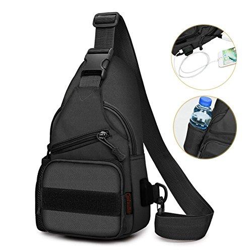 Sling Bag Shoulder Chest Cross Body Backpack for Men Women Lightweight Hiking Travel Backpack Daypack,Not Oversized with USB Charging Port (Black) ()