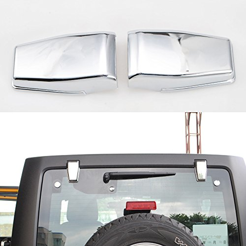 ABS Rear Glass Door Liftgate Hinge Cover Decoration Frame Trim for Jeep Wrangler 2008-2016 (chrome)