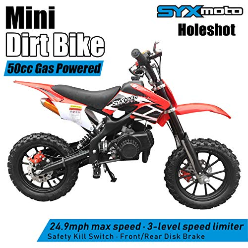 SYX MOTO Kids Mini Dirt Bike Gas Power 2-Stroke 50cc Motorcycle Holeshot Off Road Motorcycle Holeshot Pit Bike, Fully Automatic Transmission, Red ()