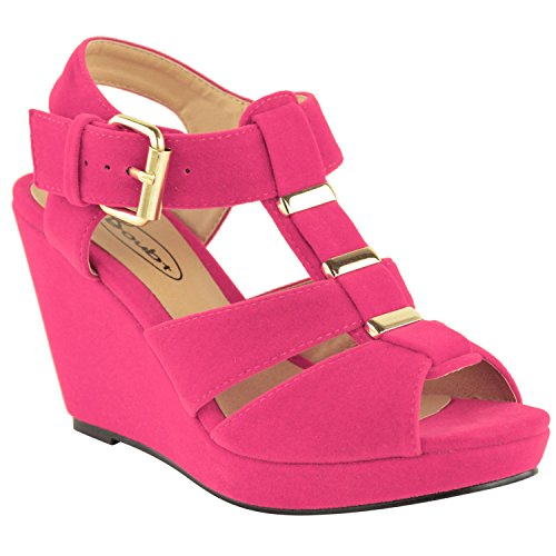 Fashion Thirsty Womens Low Mid High Heel Strappy Wedges Peep Toe Sandals Shoes Size 10 (Wedge Heel Pink)