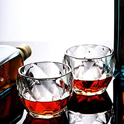 GLASKEY Whiskey Glass Set of 4-10 oz Lead Free Crystal Old Fashioned Glass, Cocktail Cool Rocks Glass Tumbler for Bourbon, Irish Whisky, Brandy and More, Scotch Glasses