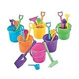 OTC Sand Pail Beach Play, 3.25'' Bucket with Rake, Scoop & Shovel, Small, 24 Sets