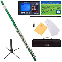 Mendini Closed-Hole Key of C Flute, Green Lacquered and Tuner, Case, Stand, Pocketbook- MFE-GN+SD+PB+92D