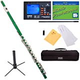 Mendini Closed-Hole Key of C Flute, Green Lacquered and Tuner, Case, Stand, Pocketbook