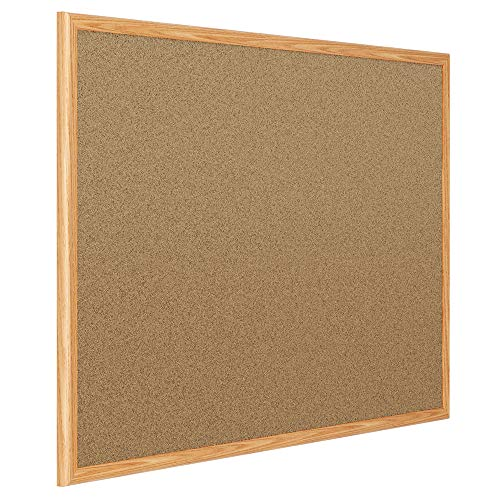 Mead Corkboard, Framed Bulletin Board, 4' x 3', Cork Board, Oak Finish Frame ()