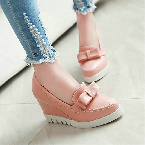 Shoes Pumps Pink Toe Wedges Pink Lady High Jerald On Tie Heels Bow Party Logan Slip Round Pu Women Platform wPT4az