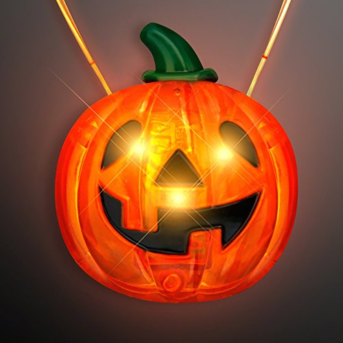 Orange Flashing LED Light Up Jack O' Lantern Pumpkin Necklace (O Up Light Jack Lanterns)