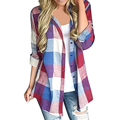 Pervobs Blouses, Big Promotion! 2018 New Women Casual Loose Matching Color Long Sleeve Button Plaid Shirt Blouse Tops