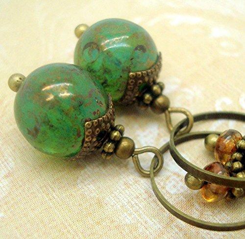 Handmade Bohemian Earrings in Marbled Green Glass