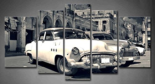 First Wall Art - 5 Panel Wall Art Black And White Panoramic View Of Shabby Old Havana Street With Vintage Classic American Cars Painting Pictures Print On Canvas Car The ()