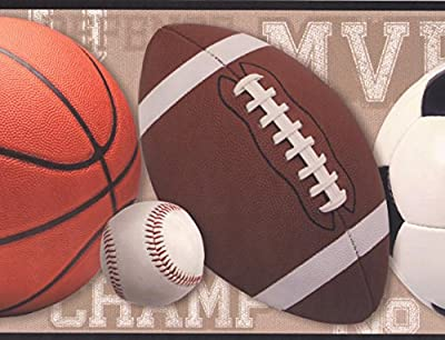 Football Basketball Baseball Soccer Ball Sports Wallpaper Border Modern Design, Roll 15' x 9''