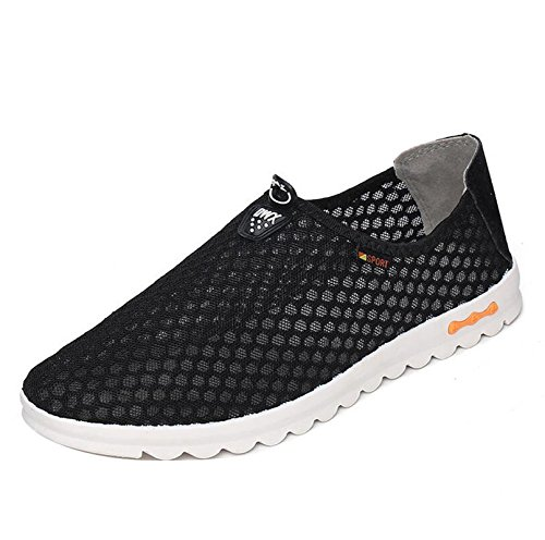 Gaorui men's breathable mesh slip on trainers sports running aqua shoes walk athletic sneakers loafers Black