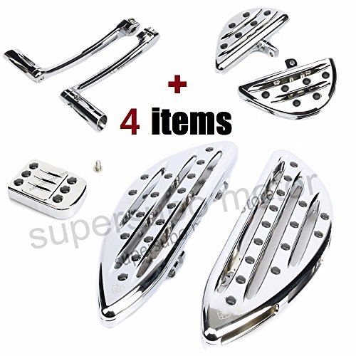 Motorcycle harley footrest Chrome floorboards for street glide passenger pegs +Toe Heel Shift Lever + pedal For Harley electra glide touring