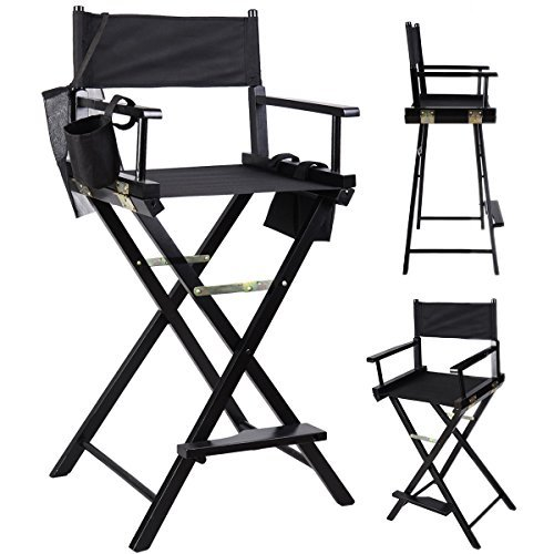 Professional Makeup Artist Directors Chair Wood Light Weight Foldable Black New by ProUSA Office Supply