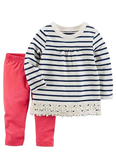 Carter's Baby Girls' 2 Piece Lace Trimmed Top and Leggings Set 18 (Primrose Lace)