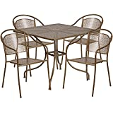 """Flash Furniture 35.5"""" Square Gold Indoor-Outdoor Steel Patio Table Set with 4 Round Back Chairs For Sale"""