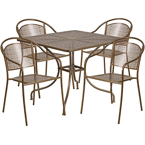 Flash Furniture 35.5'' Square Gold Indoor-Outdoor Steel Patio Table Set with 4 Round Back (Juniper Powder Coat)