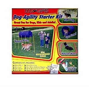 Outward Hound Kyjen  DG40100 Dog Agility Starter Kit with Dog Tunnel Weave Pole High Jump Obstacles, Large, Red
