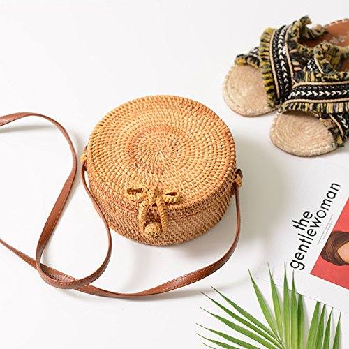 Funnmart Round Straw Bags Women Summer Beach Shoulder Bag Rattan Handmade Woven Circle Bag Bohemia Handbags Bali