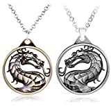 Pack of 2 Mortal Kombat Necklace Keychain Pendant Charms Jewelry Gifts for Women/Men ... (necklace 2 pcs)