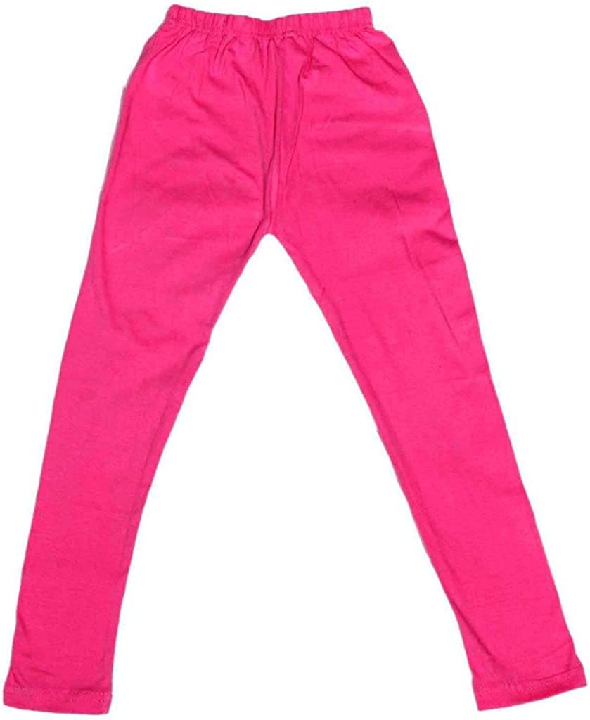 Indistar Big Girls Cotton Full Ankle Length Solid Leggings Pack of 8 -Multiple Colors-7-8 Years