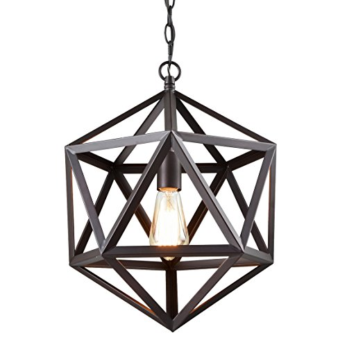 - CLAXY Ecopower Industrial Geometric Pendant Lighting Metal Cage Loft Hanging Light Fixture