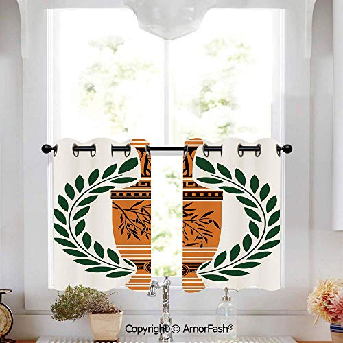 Toga Party Kitchen Curtains,Modern Geometric Design Print, Window Drapes for Kitchen Cafe,W52 x L45-Inch,Old Antique Greek Vase with Olive Branch Motif and Laurel Wreath