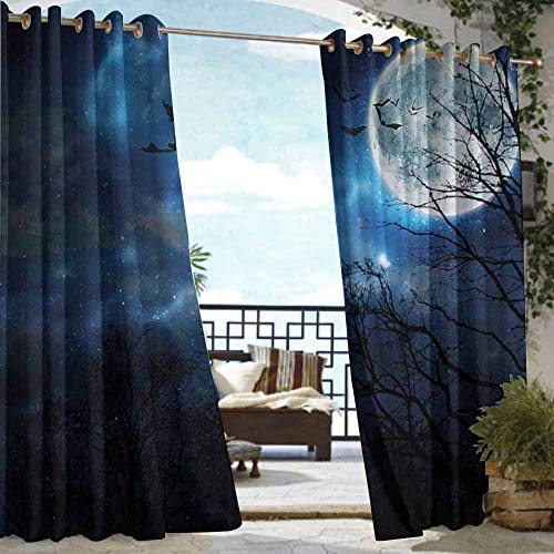 DILITECK Outdoor Curtain Halloween Bats Flying in Majestic Night Sky Moon Nebula Mystery Leafless Trees Forest Waterproof Patio Door Panel W96 xL84 Blue Black White -