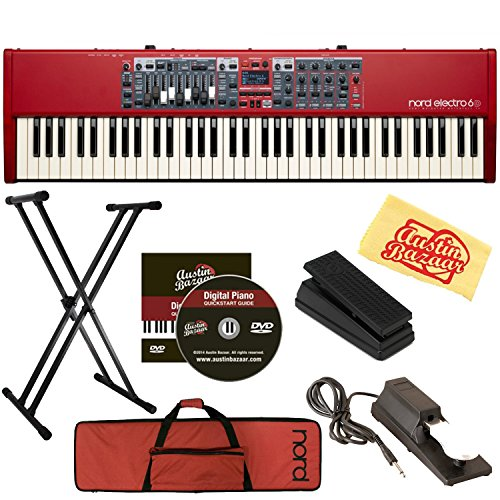 Nord Electro 6D 73-Key Stage Piano Bundle with Soft Case, Adjustable Stand, Expression Pedal, Sustain Pedal, Austin Bazaar Instructional DVD, and Polishing Cloth