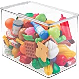 """mDesign Stackable Closet Plastic Storage Bin Box with Lid - Container for Organizing Child's/Kids Toys, Action Figures, Crayons, Markers, Building Blocks, Puzzles, Crafts - 9"""" High - Clear"""