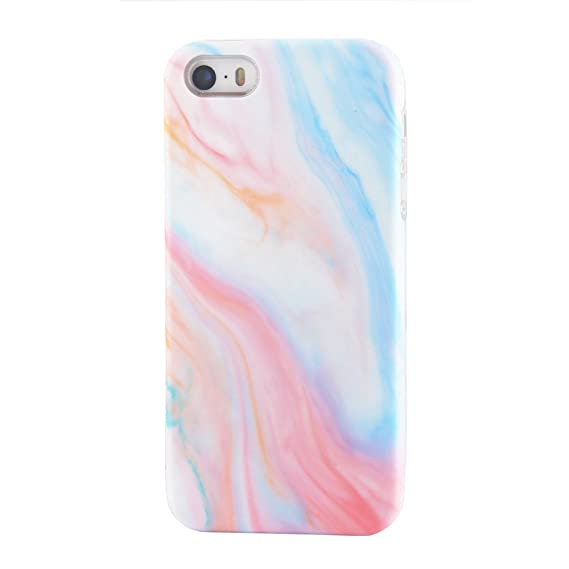 new arrival ead9e 60d10 uCOLOR Pastel Marble for iPhone SE 5S 5 Case for Girls Soft Flexible TPU  Protective Cover for iPhone SE/5S/5