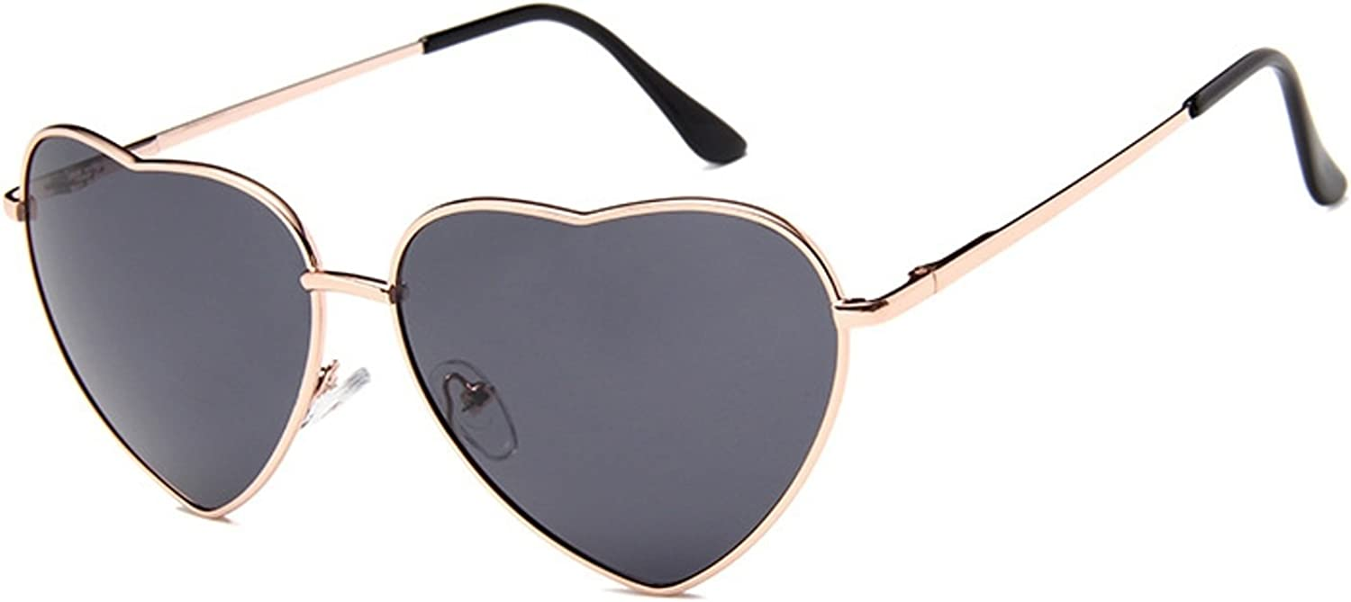 Chezi Women's Metal Colorful Tinted Lens Heart Sunglasses