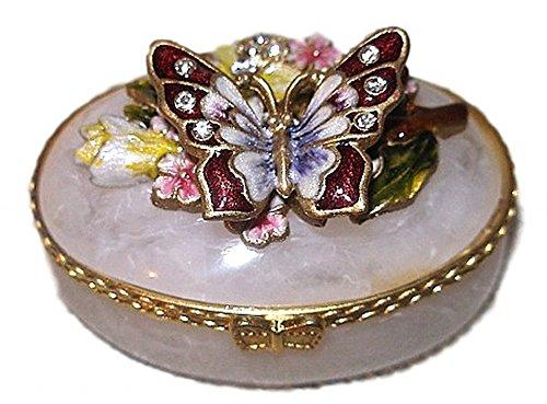 Welforth Jeweled Butterlfy &Flower Enamel Pearlized Oval Trinket -